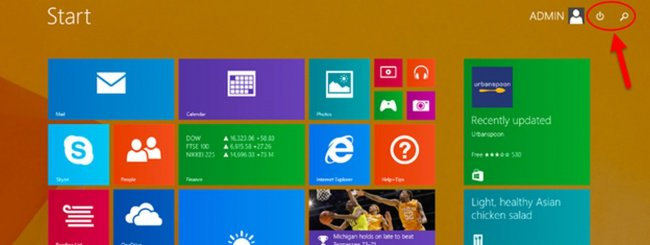 Tasto power su Windows 8.1